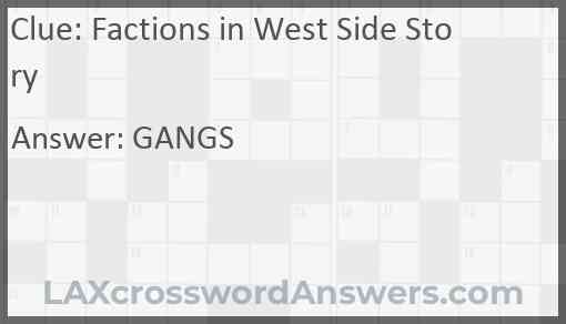 Factions in West Side Story Answer