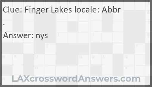 Finger Lakes locale: Abbr. Answer