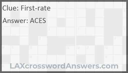 First rate crossword