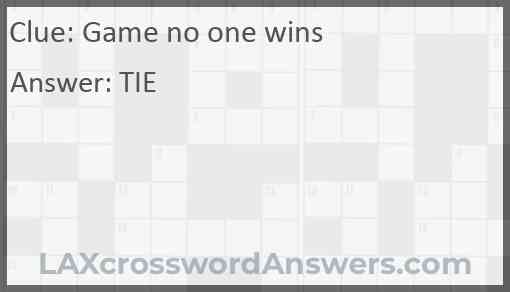 Game no one wins Answer