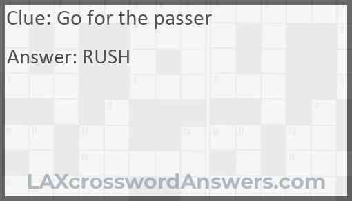 Go for the passer Answer