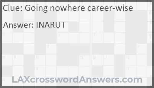 Going nowhere career-wise Answer