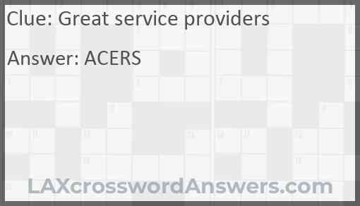 Great service providers Answer