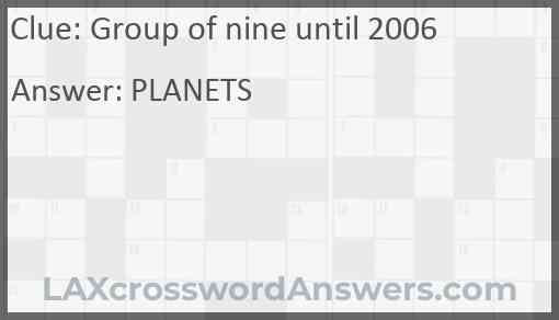 Group of nine until 2006 Answer