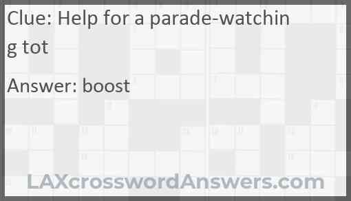 Help for a parade-watching tot Answer