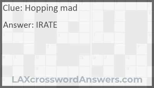 Hopping mad Answer