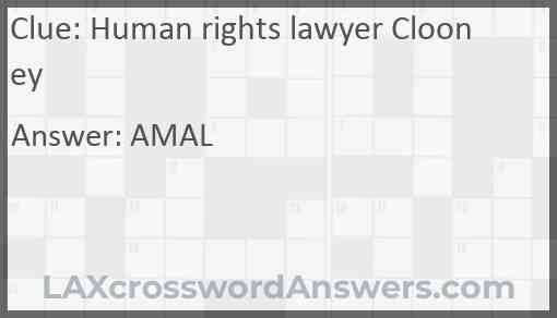 Human rights lawyer Clooney Answer