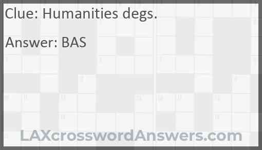 Humanities degs. Answer