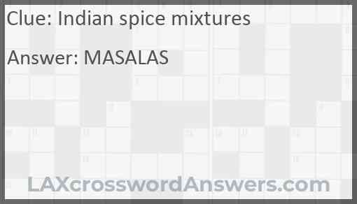 Indian spice mixtures Answer