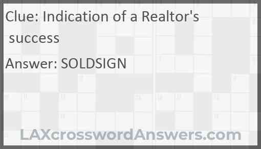 Indication of a Realtor's success Answer