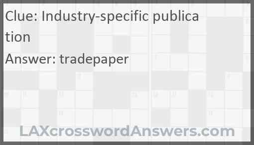 Industry-specific publication Answer
