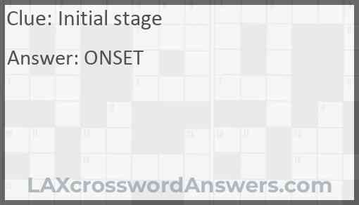 Initial stage Answer