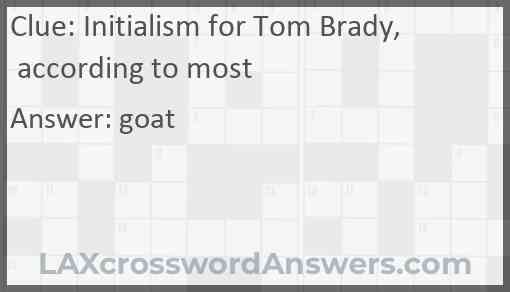 Initialism for Tom Brady, according to most Answer