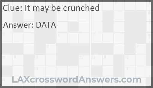 It may be crunched Answer