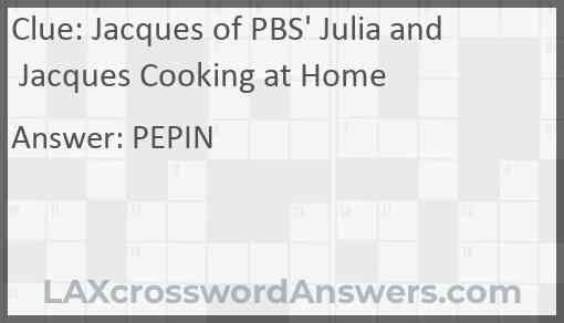 Jacques of PBS' Julia and Jacques Cooking at Home Answer