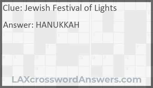 Jewish Festival of Lights Answer