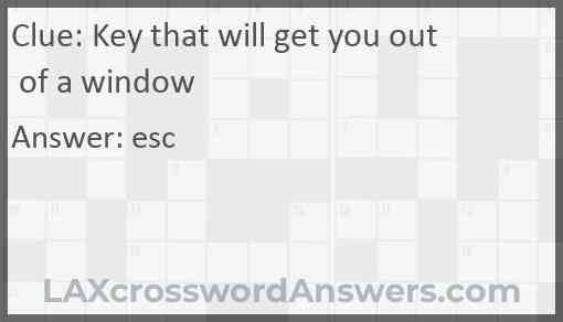 Key that will get you out of a window Answer