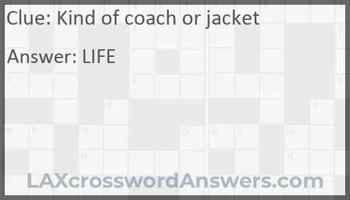 Kind of coach or jacket Answer