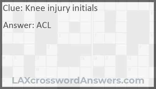 Knee injury initials Answer