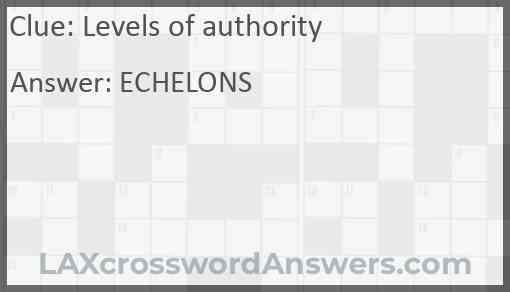 Levels of authority Answer
