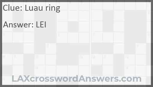 Luau ring Answer