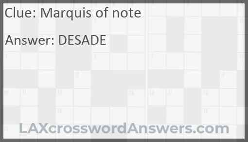 Marquis of note Answer