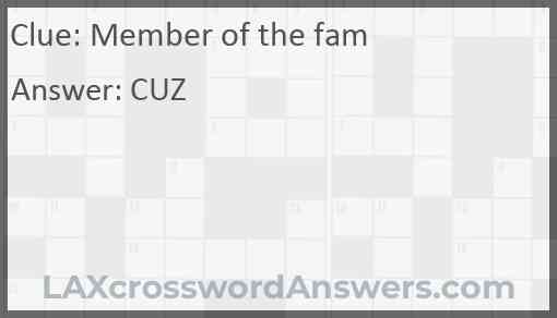 Member of the fam Answer