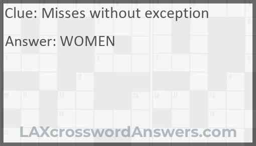 Misses without exception Answer