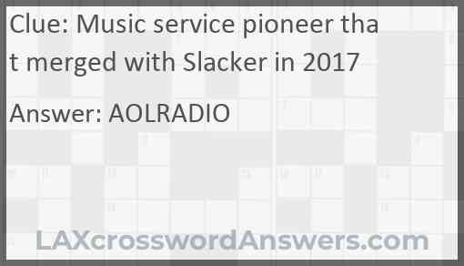 Music service pioneer that merged with Slacker in 2017 Answer