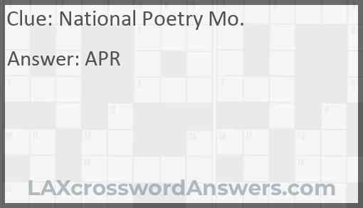 National Poetry Mo. Answer