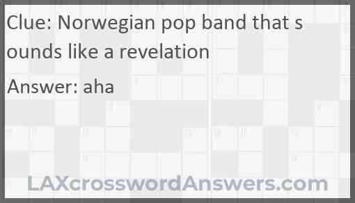 Norwegian pop band that sounds like a revelation Answer