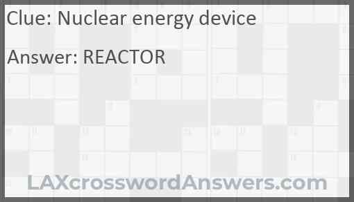 Nuclear energy device Answer