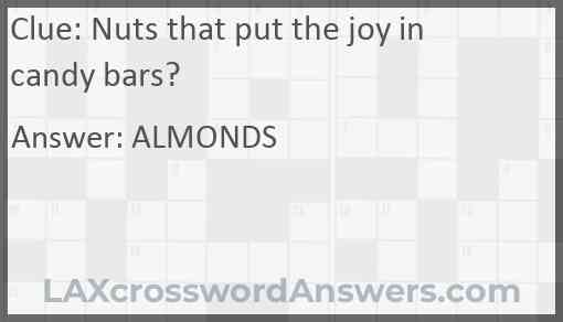 Nuts that put the joy in candy bars? Answer
