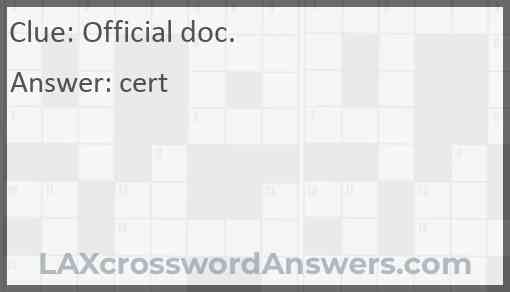 Official doc. Answer
