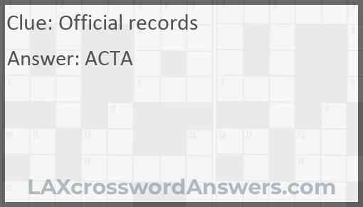 Official records Answer