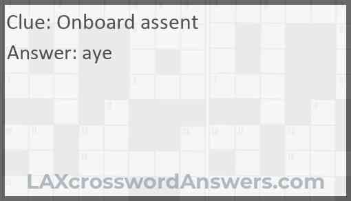 Onboard assent Answer