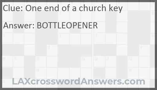 One end of a church key Answer