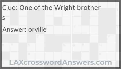 One of the Wright brothers Answer