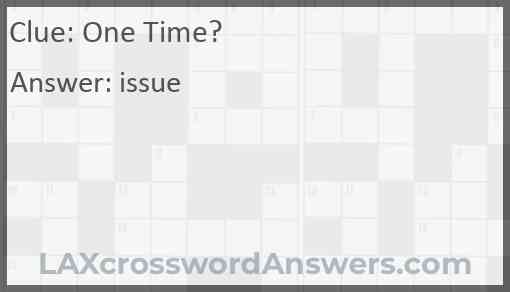 One Time? Answer