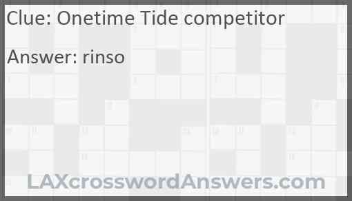 Onetime Tide competitor Answer