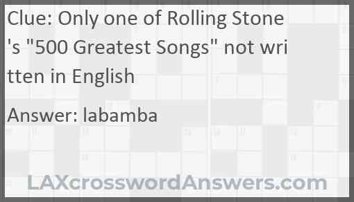 """Only one of Rolling Stone's """"500 Greatest Songs"""" not written in English Answer"""