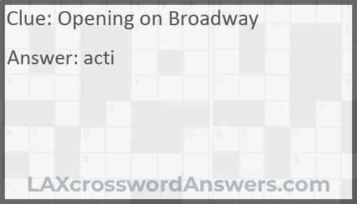 Opening on Broadway Answer