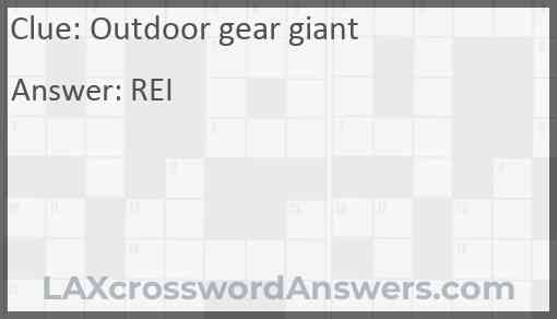 Outdoor gear giant Answer