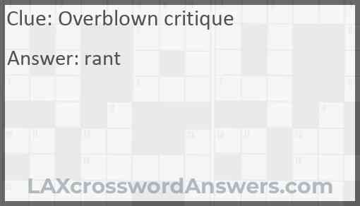 Overblown critique Answer