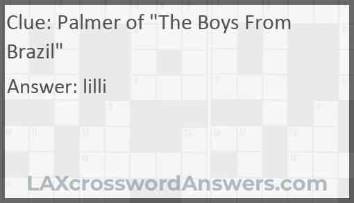 """Palmer of """"The Boys From Brazil"""" Answer"""