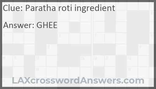 Paratha roti ingredient Answer