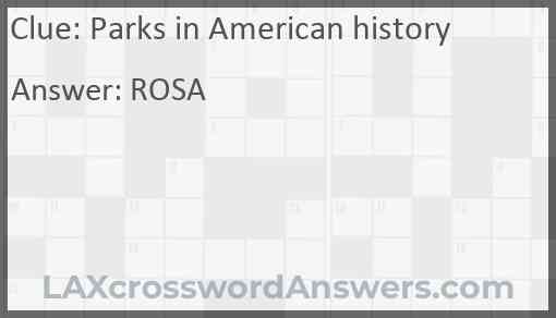 Parks in American history Answer