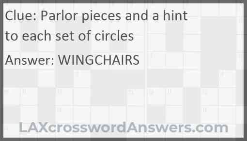 Parlor pieces and a hint to each set of circles Answer