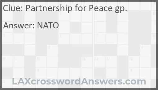 Partnership for Peace gp. Answer