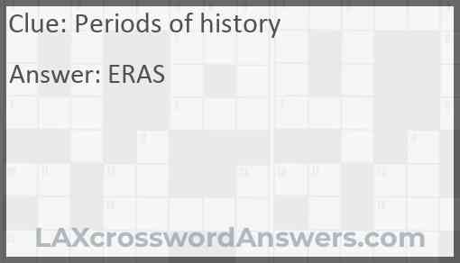 Periods of history Answer